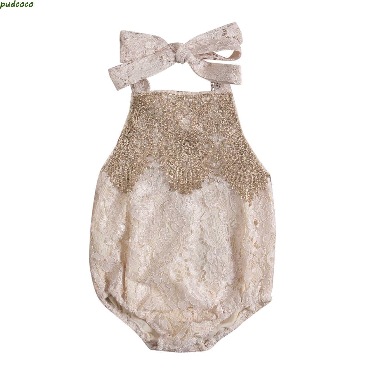 Прекрасный детско-Младенческая Одежда для новорожденных; футболка для маленьких девочек комбинезоны летние без рукавов Кружевное платье с открытой спиной комбинезон для девочек спортивный костюм