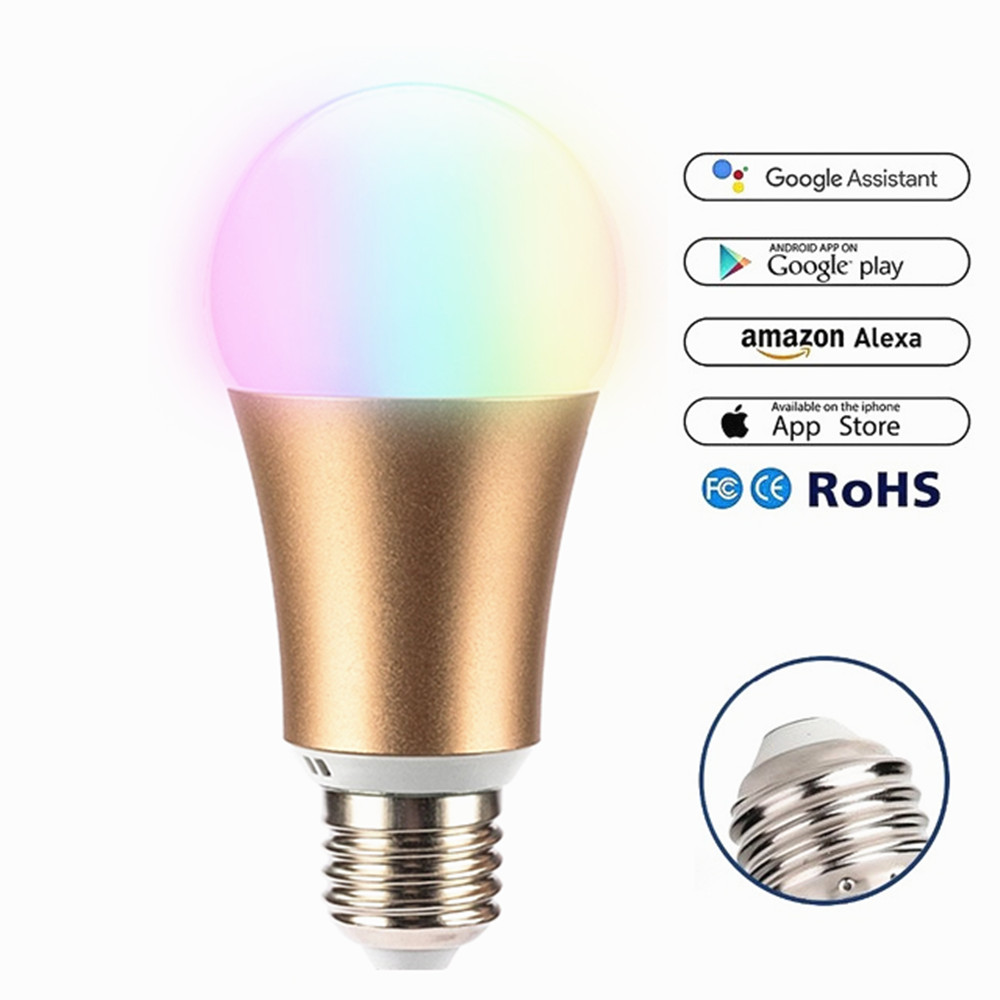 2019 New Metal RGB 7W WIFI LED Smart Bulb Ball Lamp E27 Dimmable Color LED Light Bulb ,16 Million Colours,APP Remote Control