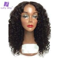 לופי מלזי צבע טבעי אי רמי שיער קצר תחרה מלאה מתולתלות שיער אדם עם תינוק שיער קוקו גבוה מולבן קשרים