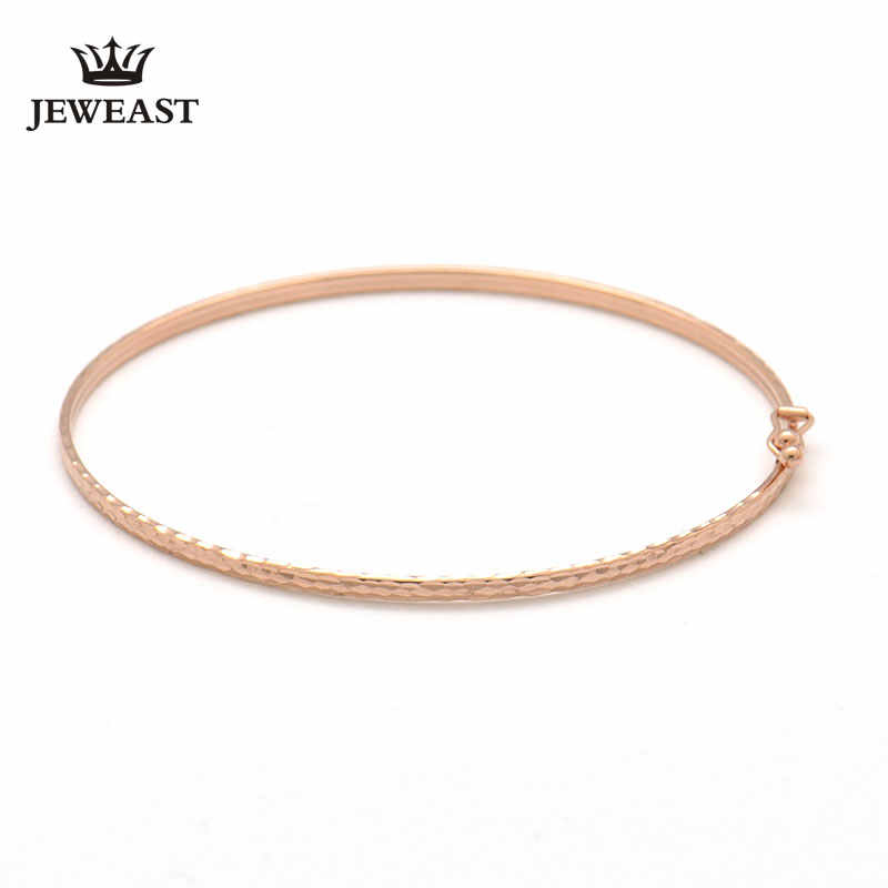 18k Gold Bangle Rose Flower Flat Bangles Color Woman Popular 2017 New Fashion Female Bracelet Fine Jewelry Party Classic Women
