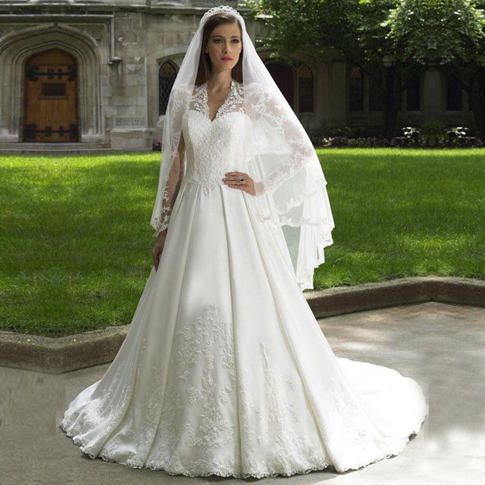 Modest V Neck Sheer Long Sleeve Bridal Gowns Lace See