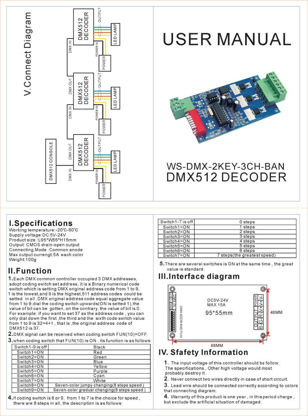 medium resolution of  3 channel dmx512 decoder dimmer driver 3ch rgb dmx controller dc5v 24v for rgb led