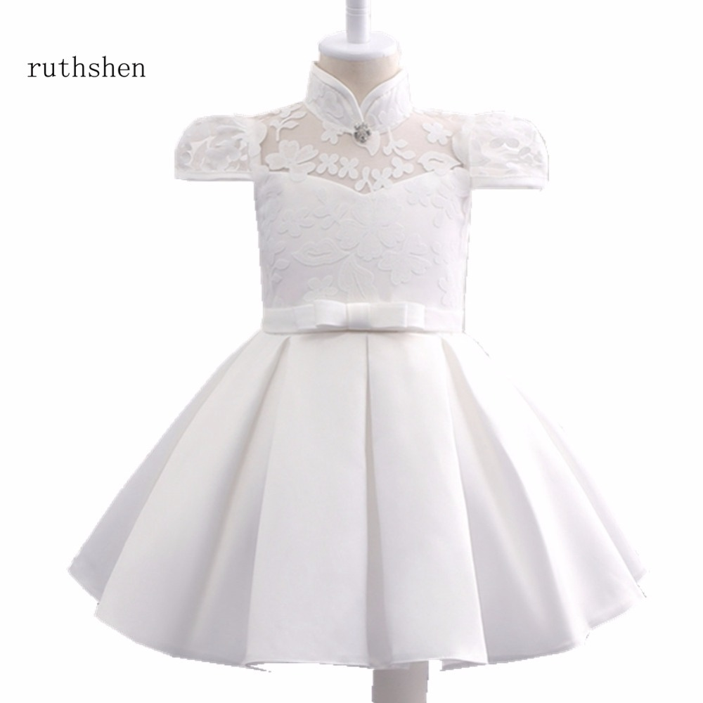 ruthshen Real Photos Pretty   Flower     Girl     Dress   Cute High Neck With Bow Lace Kids Pageant Children   Dress   2018