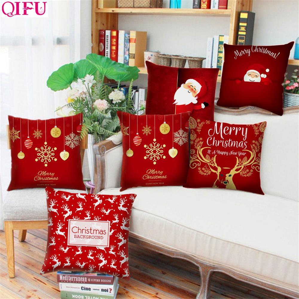 QIFU 45x45cm Elk flocon de neige père noël taie d'oreiller de noël décor pour la maison noël 2019 Navidad noël nouvel an 2020