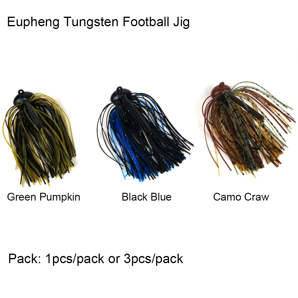 Eupheng Pro Tungsten Football Jig Silicon Rubber Case Skirt Bait Deep Water Fishing Stand-up On Bottom Chip Resistant Paint