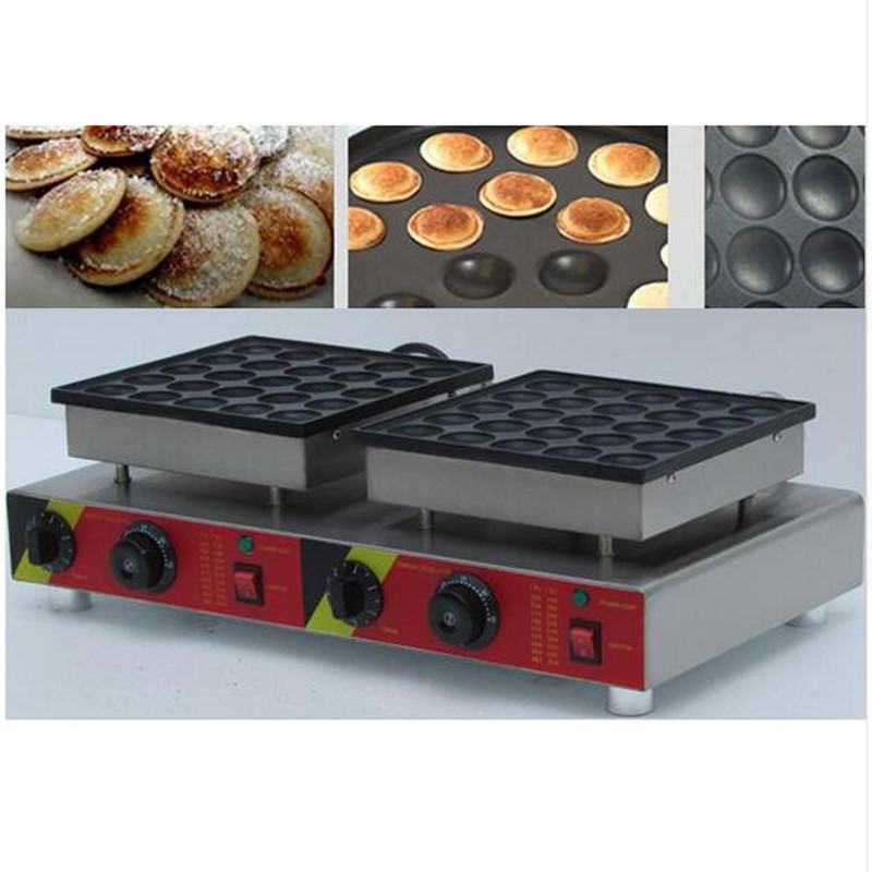 110V/220V 50pcs Non-stick Commercial Electric Poffertjes Grill Dutch Waffle Maker Mini Pancake Machine For Snack Equipment