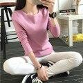 2016 новый горячий продажа женская весна осень шею пуловер свитера девушку твердые вязать свитер платья 4 цвета