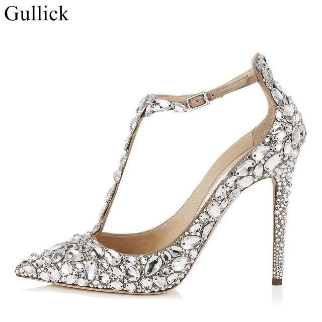 Crystal Embellished Women Wedding Shoes Pointed Toe Stiletto High Heel Sandals T Bar Strap Cover Buckle Pumps In S From On