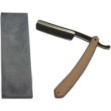 1 Razor +1 Grind Stone New Men Shaving Straight Salon Barber Cut Throat Razors Beech Wood Handle Steel Blade