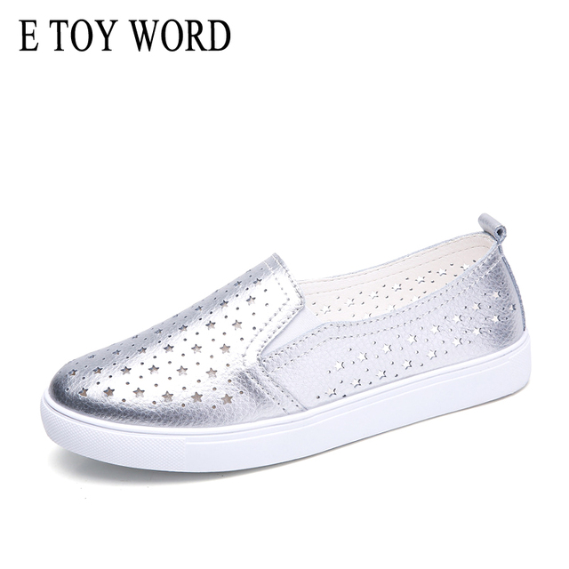 E TOY WORD 2019 Spring women's Casual Flats Hollow Breathable Leather Loafers Fashion Ballet flat shoes Silver white women shoes