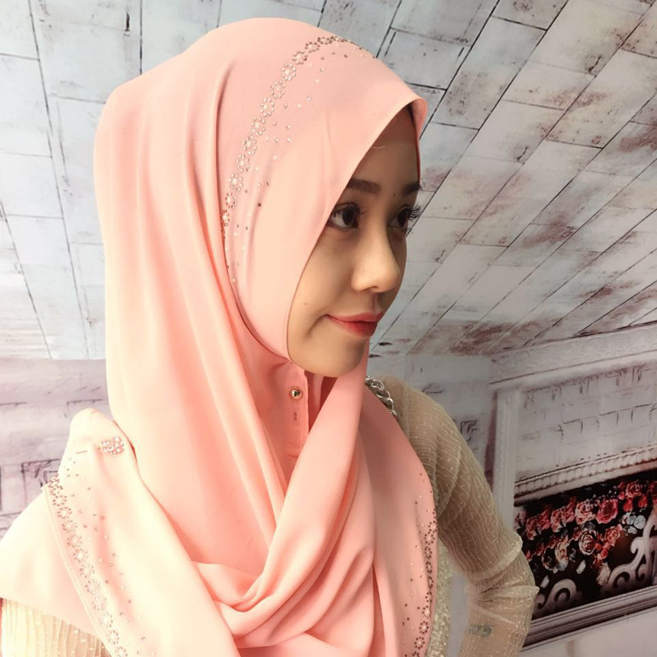 Muslim Hijab chiffon Malaysia instant convenient Muslim Shawl Women's Scarf