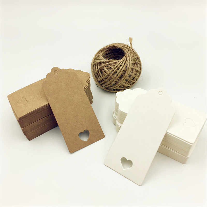 Kraft Paper Tags 7 x 4cm 100PCS White Scallop Label Blank Cards Handmade Hang Label Gift Cards with Small Hole Wedding Birthday Party Favour Label Price