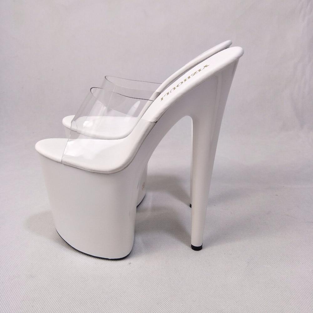 Blanc Simple Ceinture Transparent Plate-Forme À Bout Ouvert 20 cm Ultra Talons  hauts Pantoufles 8 Pouce Sexy Partie Cristal Chaussures 9f448955c3bb