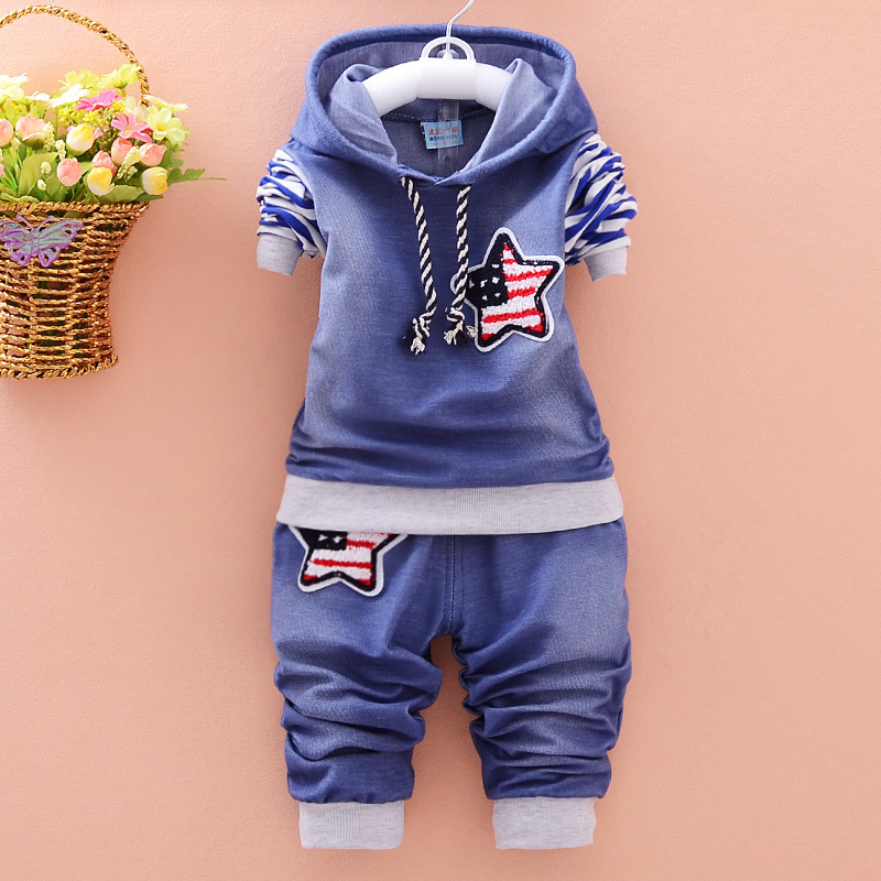 2018 Spring Autumn Boy Clothing Cotton Long-sleeved Denim Hooded T-shirt Pants Baby Clothing Kids 2 Pcs Clothing Clothing Suit