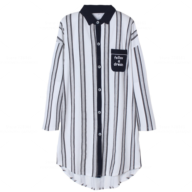 Brand 100% Cotton   Nightgown   Women Nightdress Sleepwear Loose Big   Nightgowns   Striped   Sleepshirts   Dress Lounge Fashion Clothing