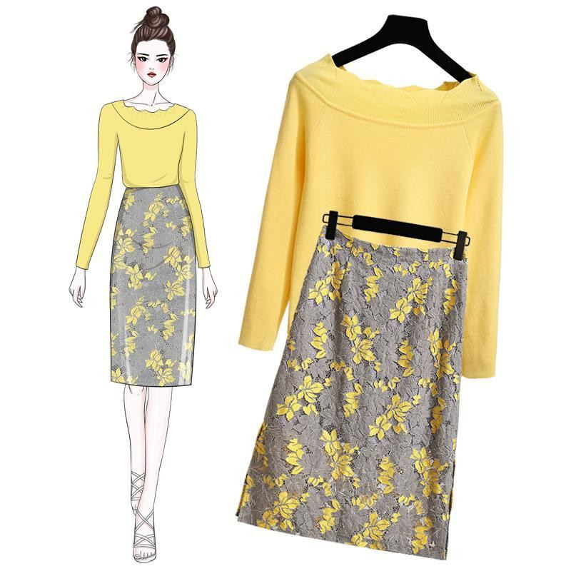 2019 Spring Autumn Women Elegant Slash Neck Rufflees Solid Sweater Top+Embroidery Flower Lace Skirt Sets Lady Casual Suit Z143