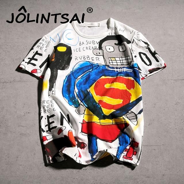 Футболка с коротким рукавом 2017 Новейшая летняя модная футболка с рисунком для мужчин граффити Супермен забавная Футболка с принтом хлопковая футболка