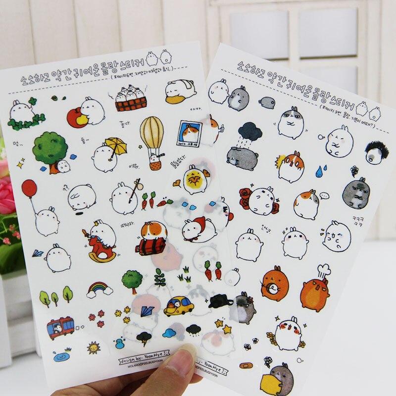 цены на 6 Sheets/lot DIY Kawaii Cartoon Meng Rabbit PVC Paper Stickers For Kids Gift Scrapbooking Stationery в интернет-магазинах
