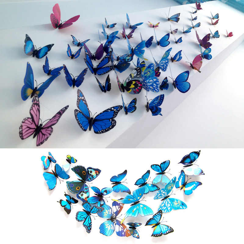 12 unids/set PVC 3d decoración de la pared de la mariposa lindas mariposas pegatinas de pared arte calcomanías decoración del hogar arte de la pared imán Pin pared etiqueta engomada