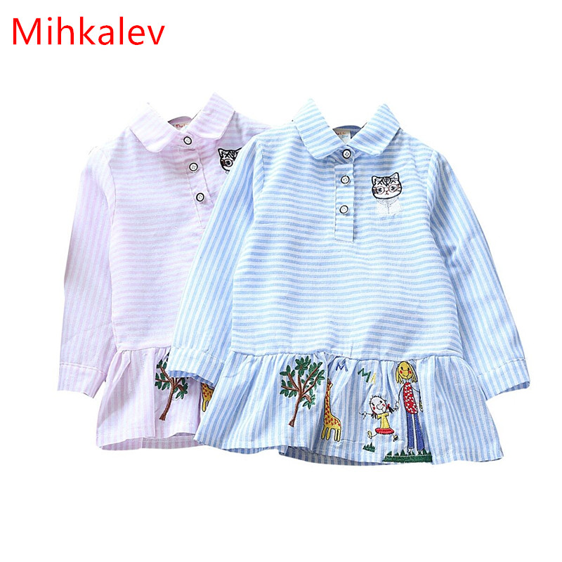 Mihkalev Casual kids clothes girls autumn clothing 2017 cartoon striped girl school dress long sleeve children dance costume mihkalev striped long sleeve girl dress kids clothes 2017 autumn princess dres for girls party clothing children tutu dress