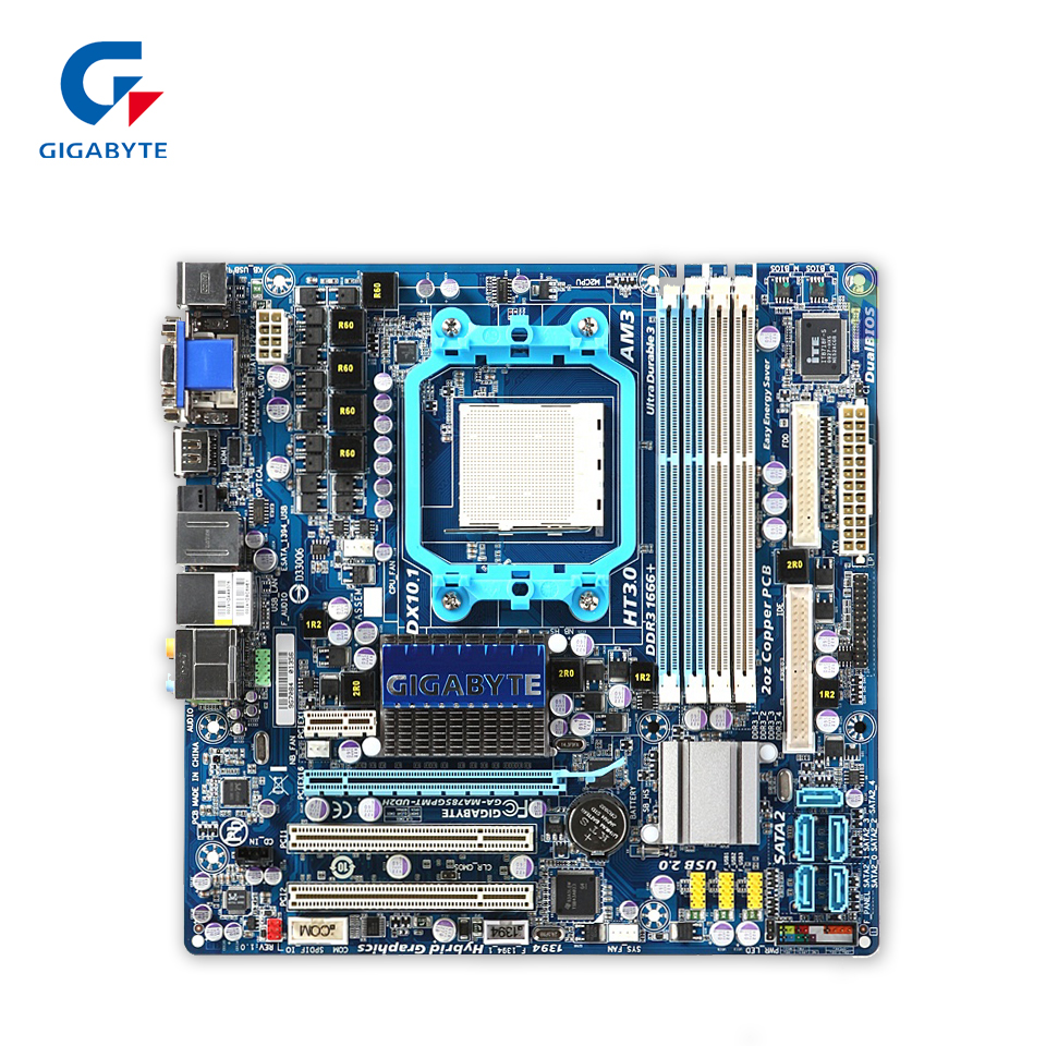 Gigabyte GA-MA785GPMT-UD2H Original Used Desktop Motherboard MA785GPMT-UD2H 785G Socket AM3 DDR3 SATA2 USB2.0 Micro ATX gigabyte ga ma770 es3 original used desktop motherboard amd 770 socket am3 ddr2 sata2 usb2 0 atx