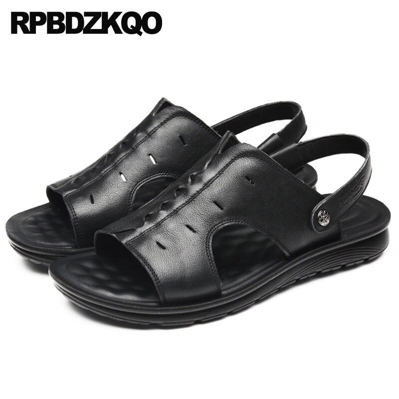 Preto Sapatos Tênis Slides Preto Couro Aberto Homens Alça Castanho À Moda Agua Verão Praia 2018 Sandálias D'água marrom Plano Prova De Chinelos Dedo xqI1XRf