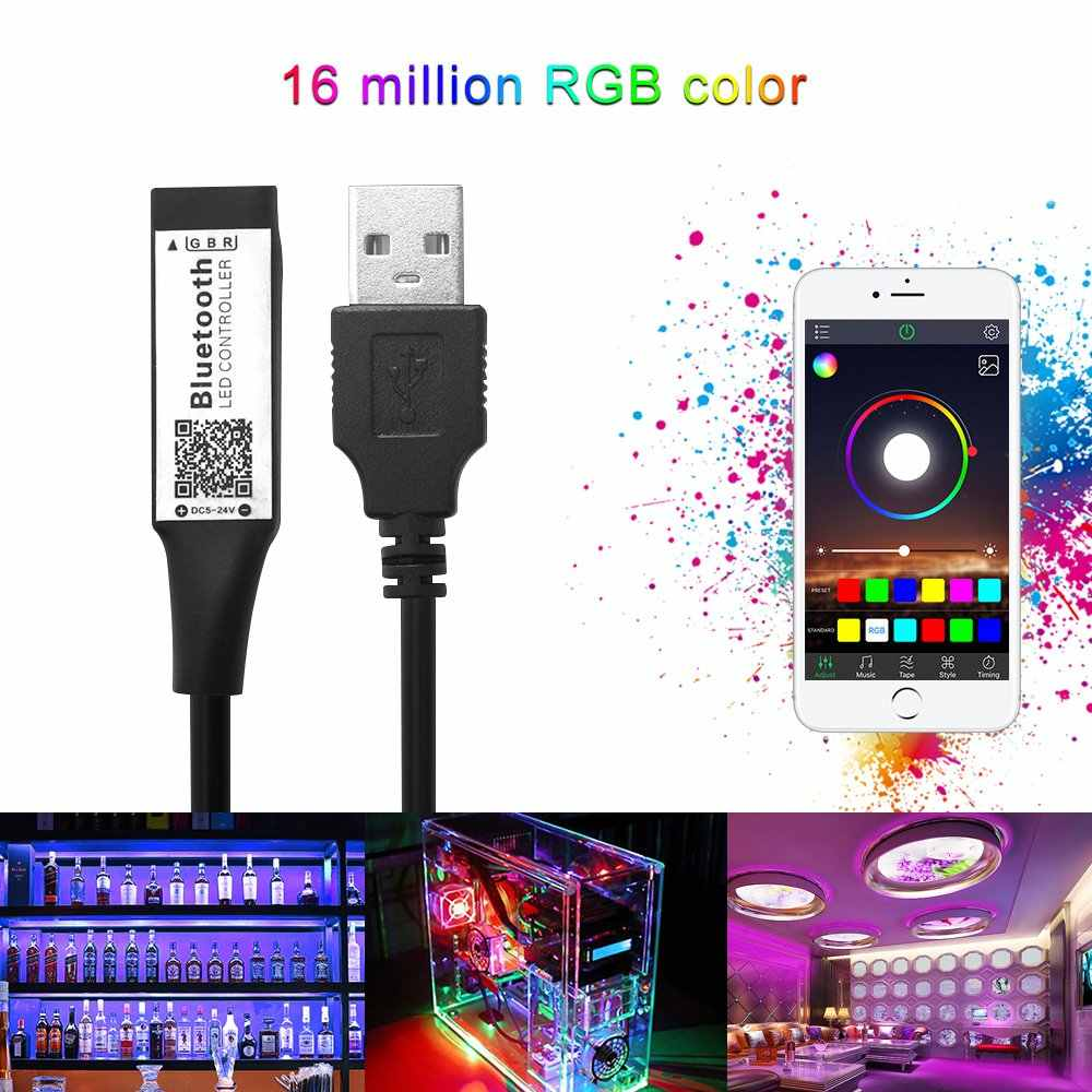 RGB inteligente Bluetooth Temporizador Indicado LED Controlador USB para 5 V 3528 5050 Tira Conduzida Luz RGB Multicolor Mudando Backlight TV