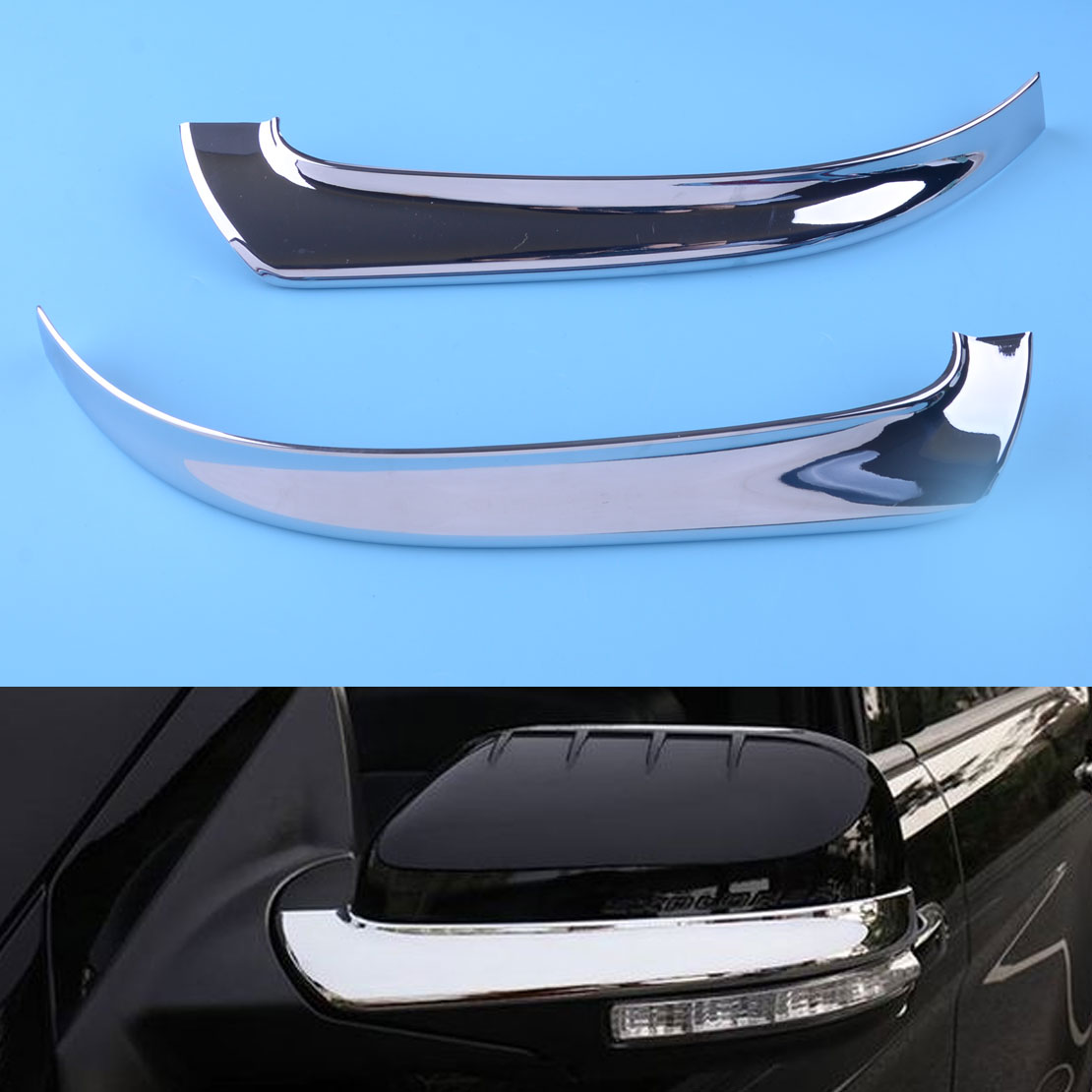 DWCX 2pcs Left Right Chrome Plated Rearview Side <font><b>Mirror</b></font> Cover Strip Trim Silver ABS Fit For <font><b>Ford</b></font> <font><b>Explorer</b></font> 2016 2017 2018 2019 image