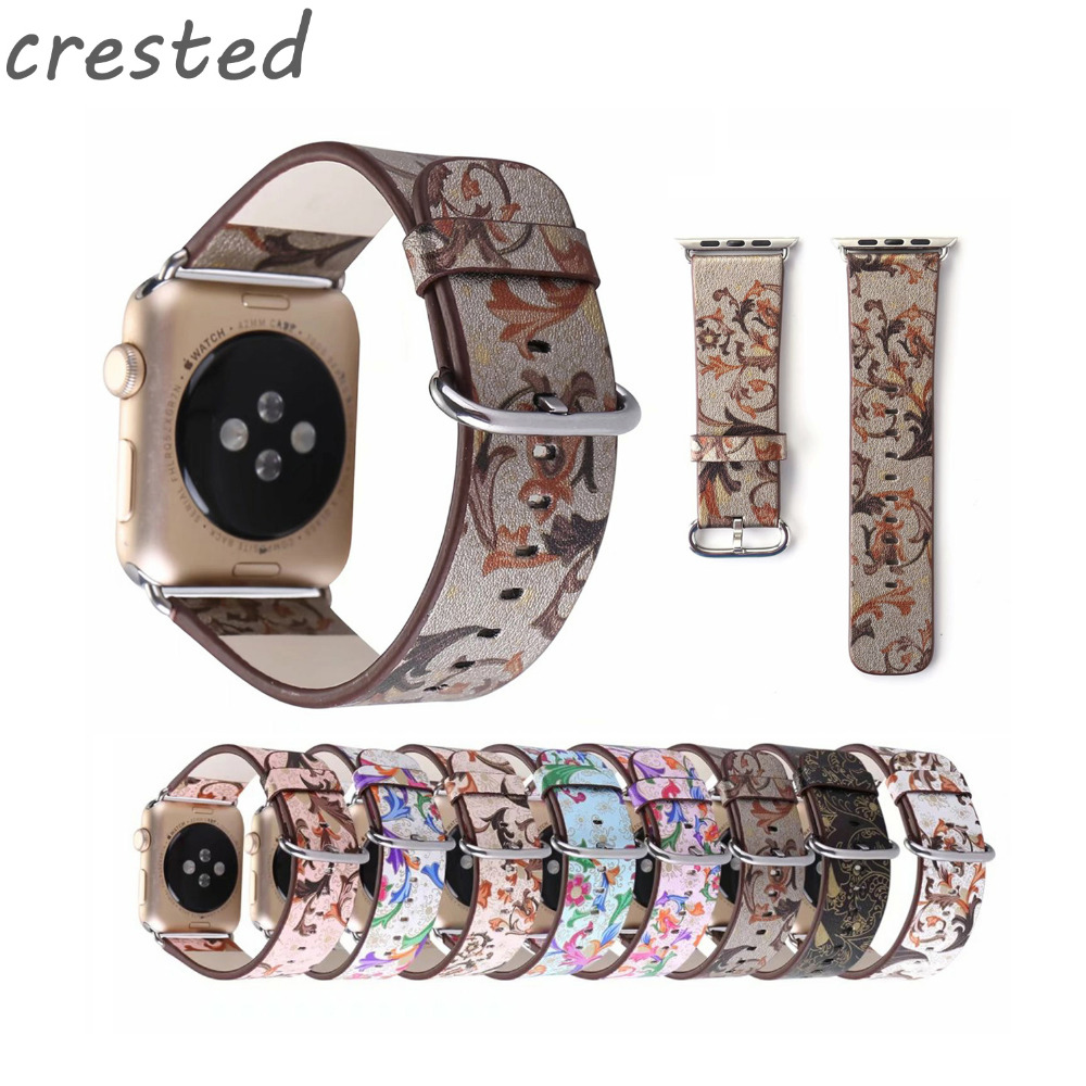 CRESTED leather strap for apple watch band 42mm 38mm national wind wrist  belt bracelet watch strap for iwatch 1/2/3 crested leather loop band for apple watch 42mm 38mm