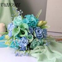U & בית צבעוני צהוב מלאכותי משי רוז קאלאס פו DIY פרח הכלה זר הידראנגאה הכחולה לבית החתונה קישוט החדש בתפזורת