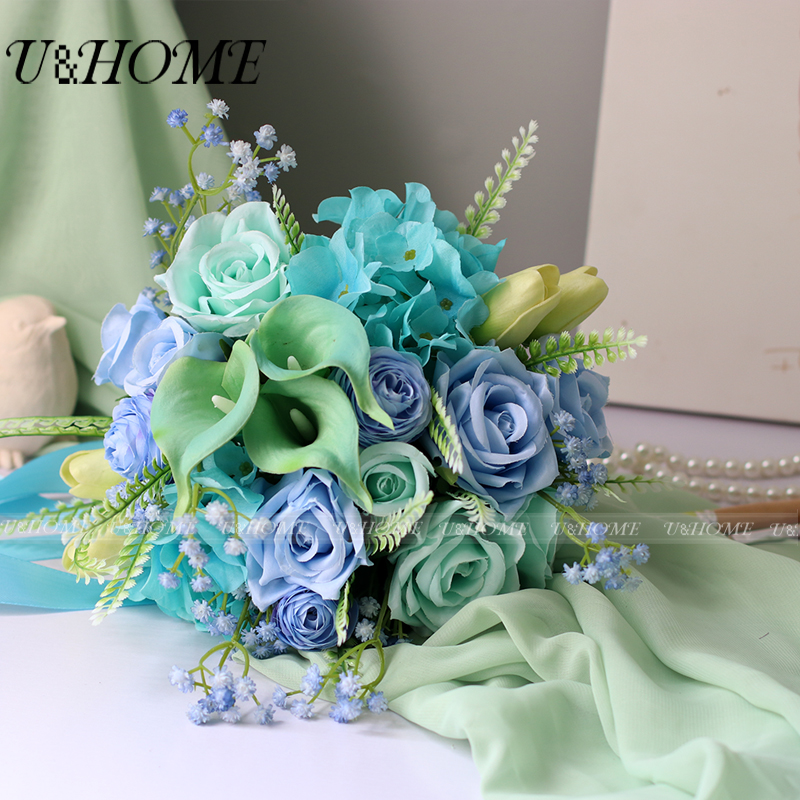 U&Home silk rose PU callas yellow tulip artificial DIY <font><b>flower</b></font> bride bouquet blue hydrangea for home wedding decoration bulk NEW