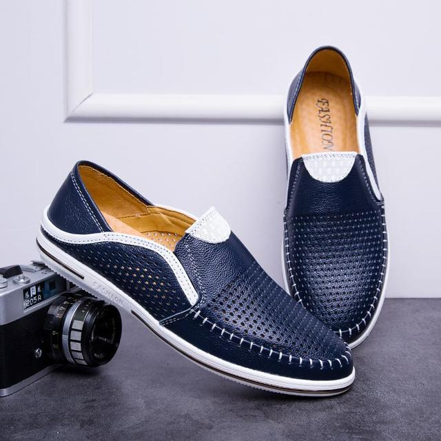 2020 Fashion Trendy Men Shoes Summer Light Breathable Hollow Loafers Cow Leather Lace-up Walking Driving Men's Casual Shoes