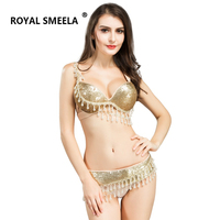 hot sale wholesale belly dance bra and belt sets GOLD COLORS For Women Lady's Sexy Night Dance Bellydance Clothing WY8817