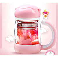 Portable Double Layer Glass Tea Cup Lovely Monkey King Drinking Glass Cups With Lid And Filter