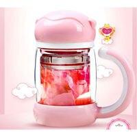 Draagbare dubbele laag glas thee cup mooie Aap Koning drinkglas cups met deksel en filter
