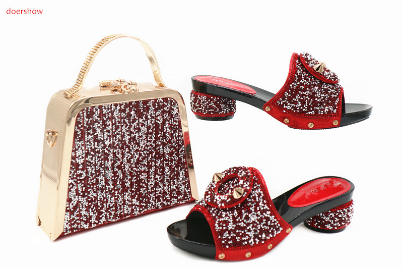 doershow Charming Italian Shoes With Matching Bags Rhinestones Black High Quality African Shoes And Bags Set for wedding TN1-19 italian visual phrase book