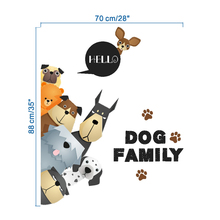 3D wallpaper Cartoon dog family footprint refrigerator cabinet door wall stickers