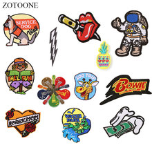 ZOTOONE Heart Guitar Astronaut Patches Stickers Iron on Clothes Heat Transfer Applique Embroidered Applications Cloth Fabric G