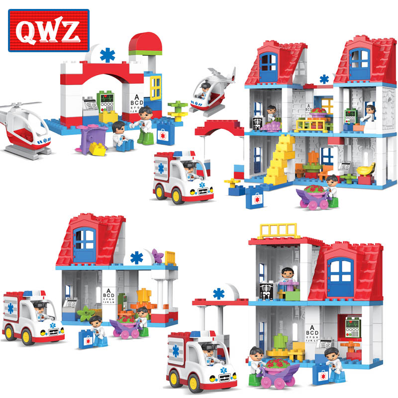 QWZ 35-120Pcs City Hospital Rescue Large Particle Building Block Kids Toy City Ambulance Model DIY Brick Toy Compatible Duplo kid s home toys brand large particles city hospital rescue center model building blocks large size brick compatible with duplo