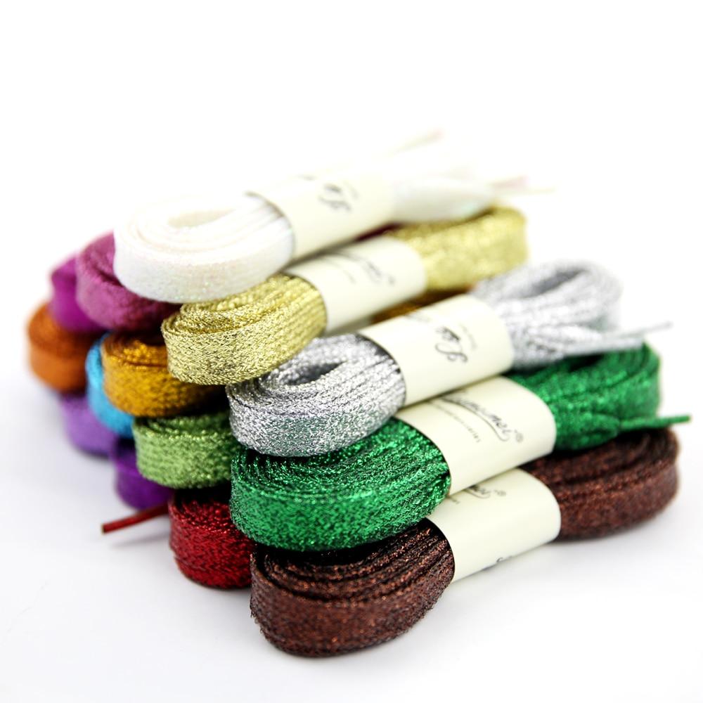 Zapatillas de deporte UNISEX de 110cm, cordones planos dorados y plateados, encaje de perlas, multicolor