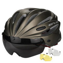 3 Lens Magnetic Goggles Bike Bicycle Helmet In-mold Cycling Helmet With Lens Casco Ciclismo
