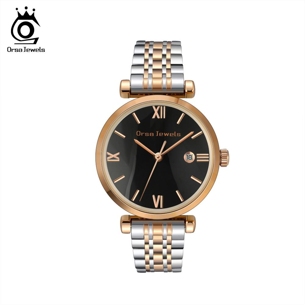 ORSA JEWELS Women Wristwatches High Quality Stainless Steel New Quartz Watch Female Ladies Watches Relogios Feminino