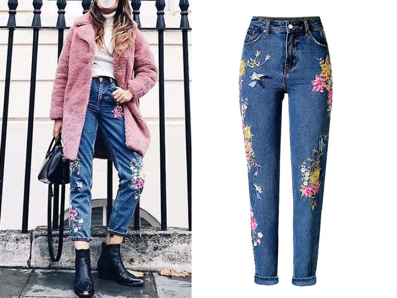 2017 Europe and the United States women's three-dimensional 3D heavy craft bird flowers before and after embroidery high waist Slim straight jeans large code system 46 yards (6)