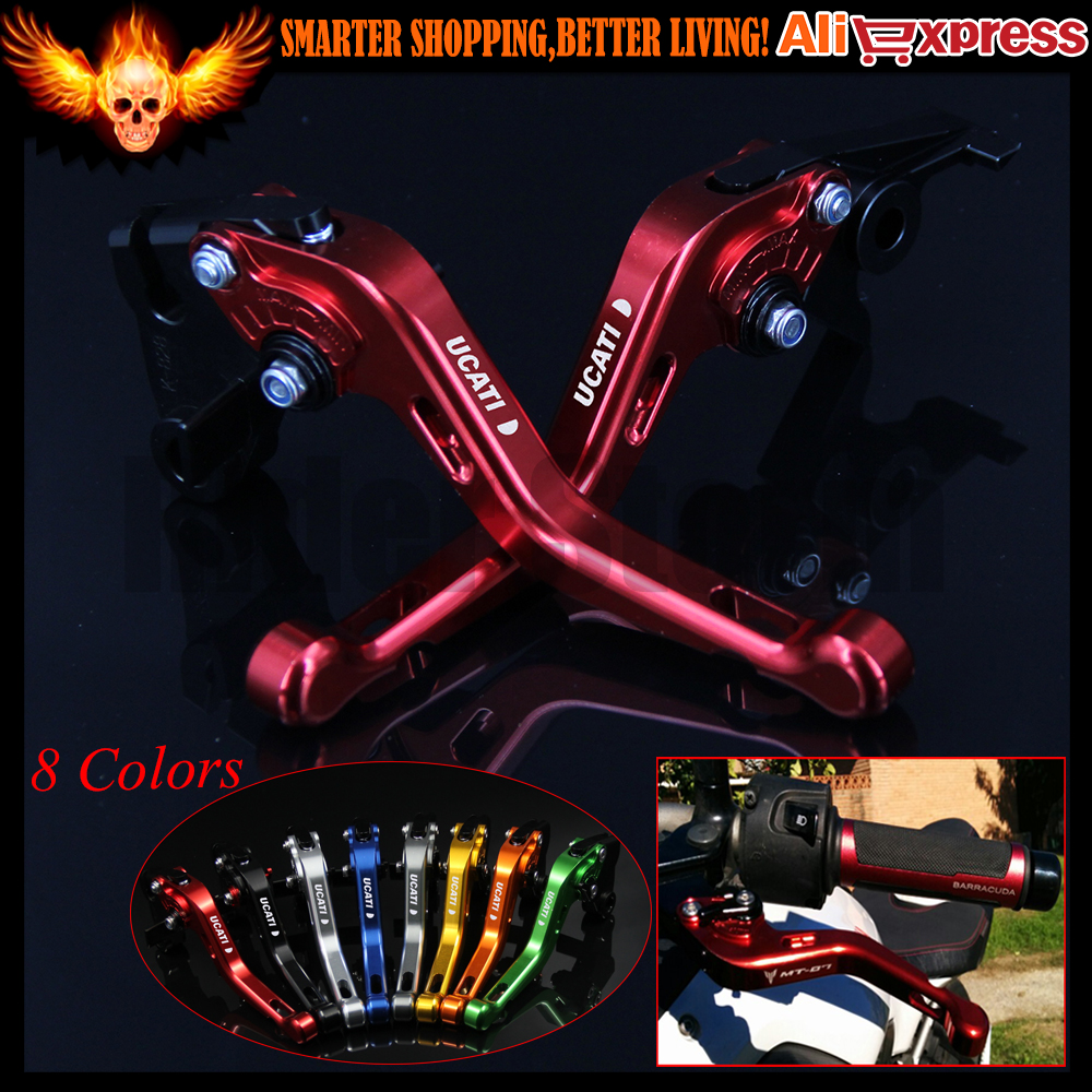 ФОТО 8 Colors CNC Aluminum Red Motorcycle Short Brake Clutch Levers for Ducati 1198/S/R 2009 2010 2011