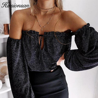 Hirsionsan Spring Autumn Off Shoulder Tops Women Sexy Lace Up Blouse Shirt Casual Sequin Party Bustier