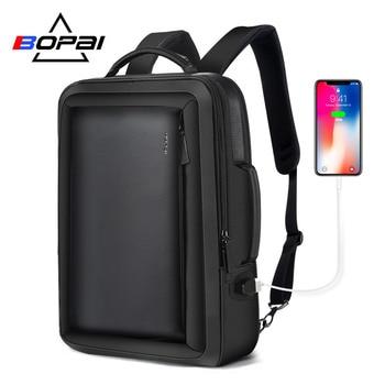 BOPAI Best Professional Men Business Backpack Travel Waterproof Slim Laptop Backpack School Bag Office Men Backpack Bag Leather roupas da moda masculina 2019