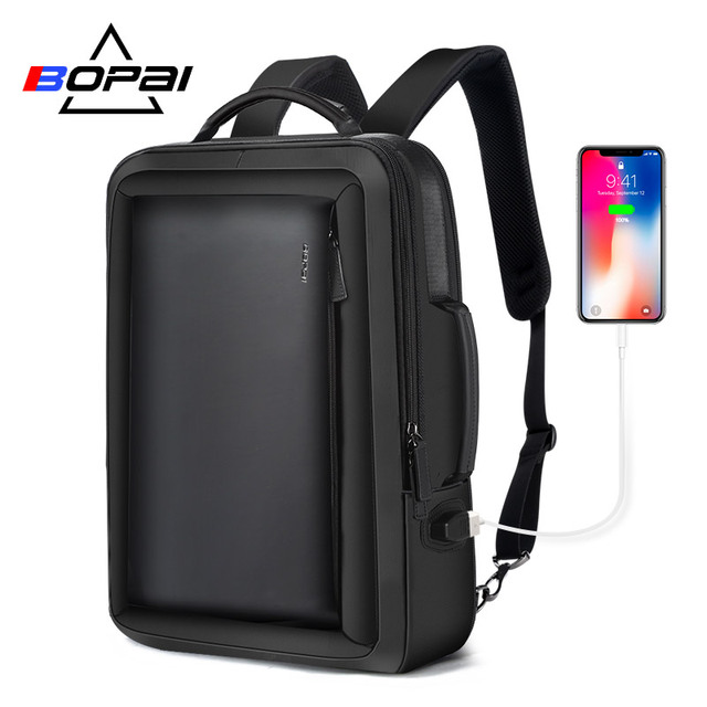 BOPAI Best Professional Men Business Backpack Travel Waterproof Slim Laptop Backpack School Bag Office Men Backpack Bag Leather