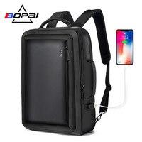 BOPAI Best Professional Men Business Backpack Travel Waterproof Slim Laptop Backpack School Bag Office Men Backpack Bag Leather