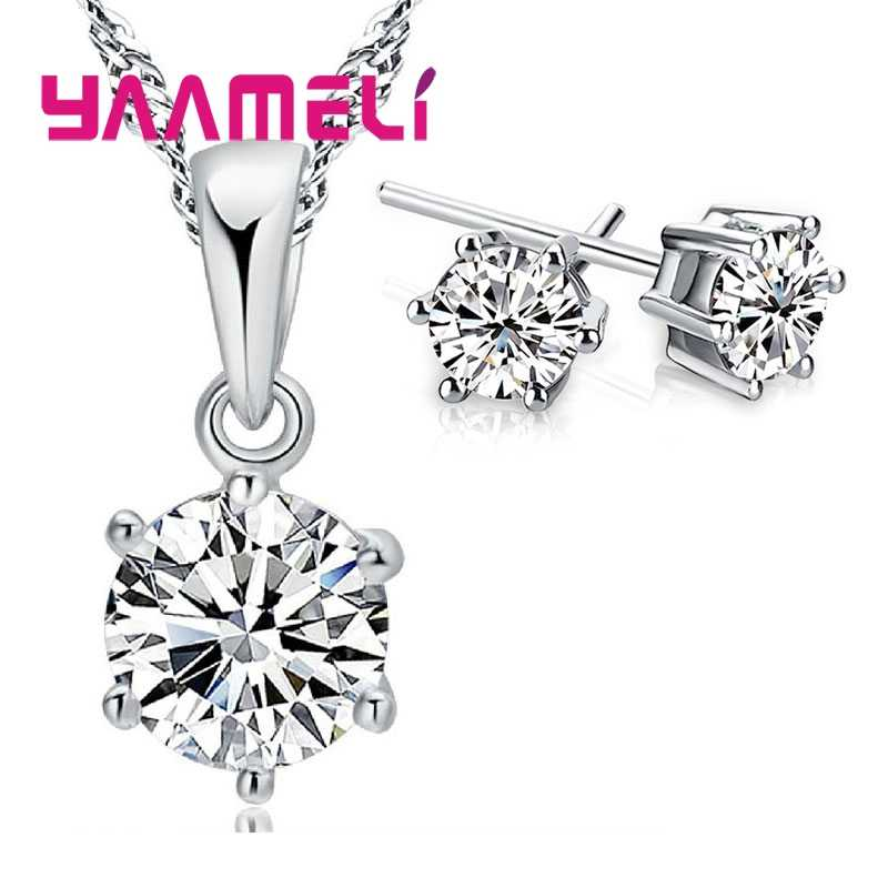 Clássico 925 prata esterlina conjuntos de jóias de casamento nupcial acessório princesa corte cristal austríaco festa colares brinco conjunto