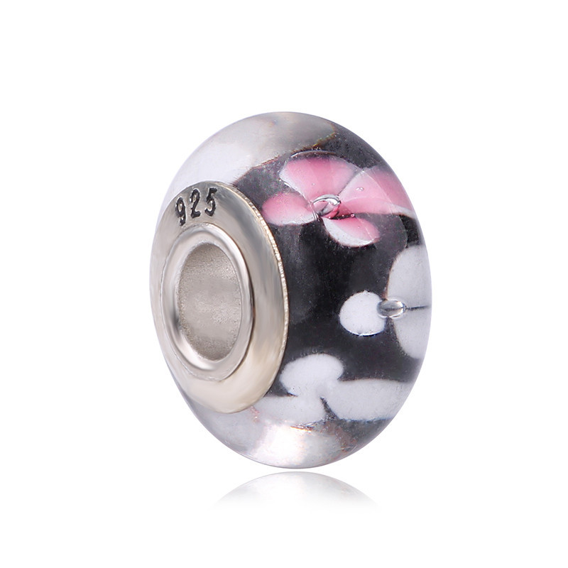 Couqcy Flower Black Beads Fits Pandora Charms Bracelet 2018 Murano Glass Beads DIY 925 Sterling Silver Beads For Jewelry Making
